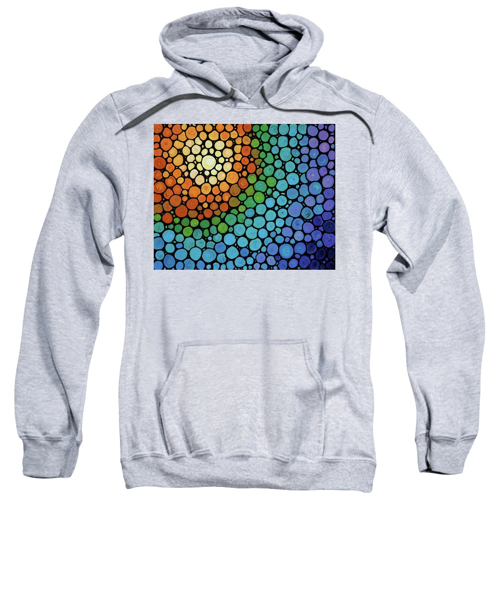 Mosaic Sweatshirt featuring the painting Colorful Mosaic Art - Blissful by Sharon Cummings