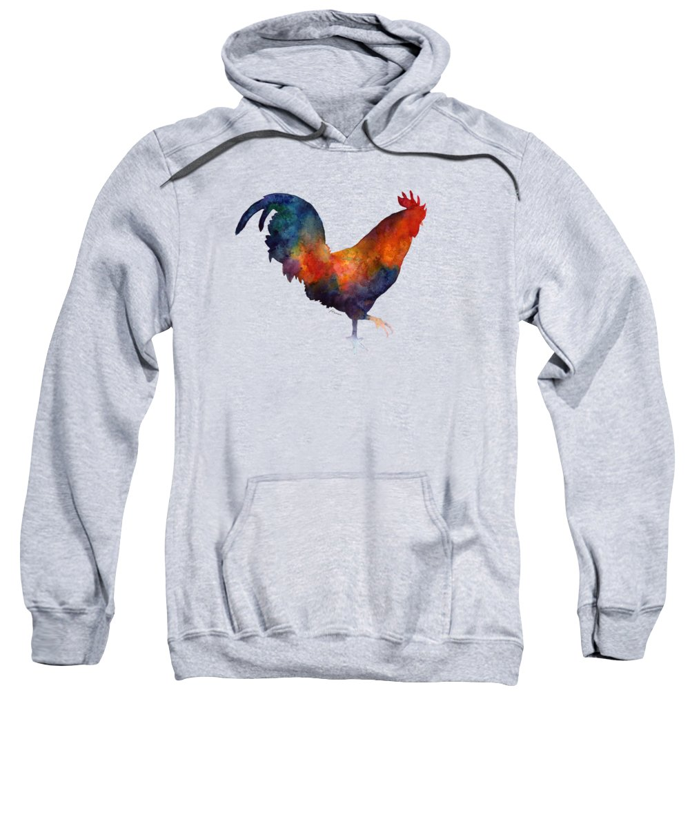 Rooster Sweatshirt featuring the painting Colorful Rooster by Hailey E Herrera