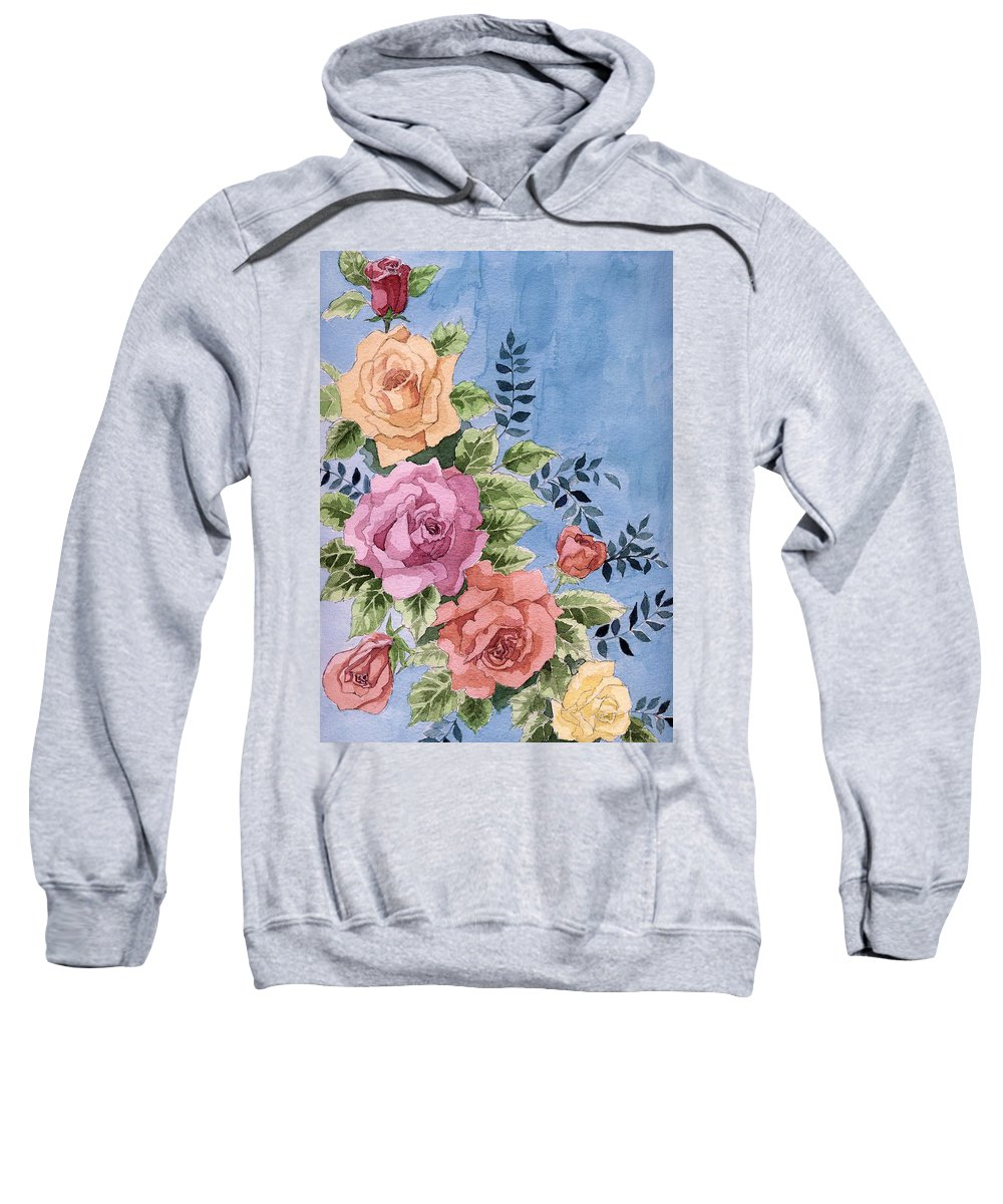 Roses Sweatshirt featuring the painting Colorfull Roses by Alban Dizdari