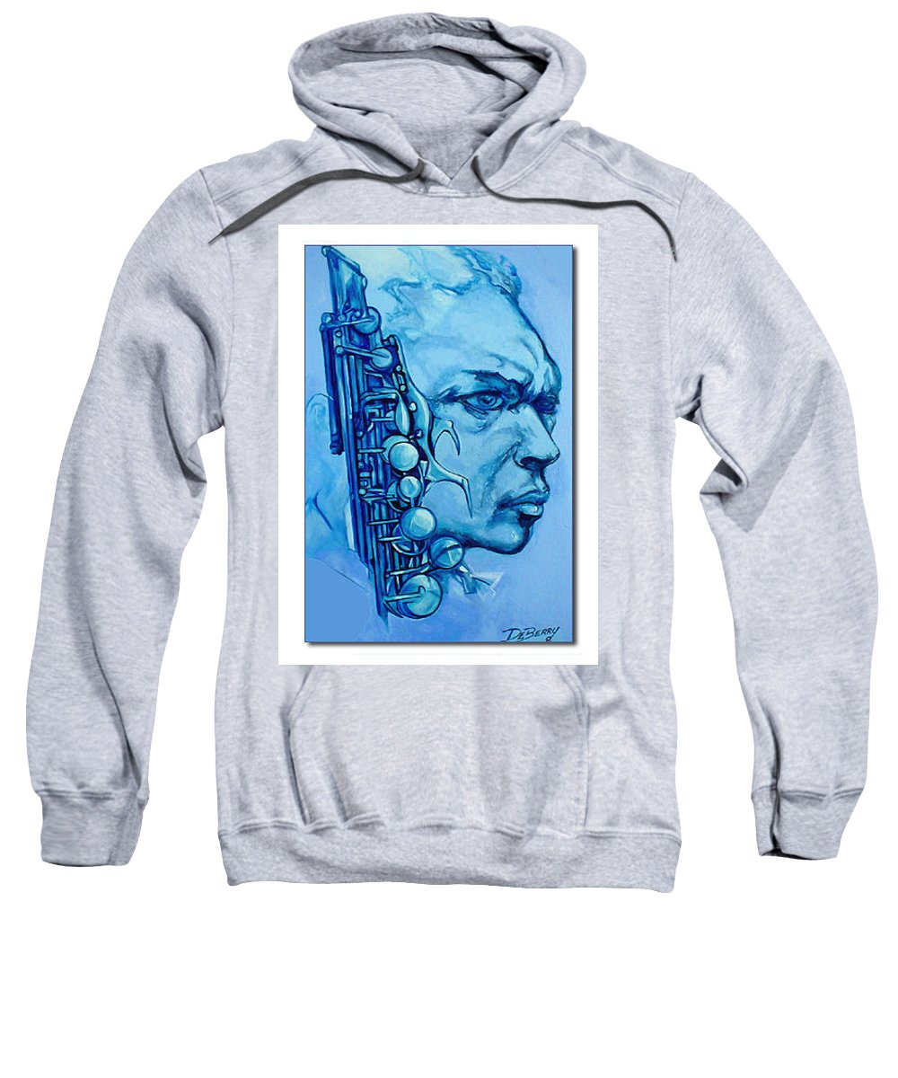 Original Fine Art By Lloyd Deberry Sweatshirt featuring the painting Coltrane by Lloyd DeBerry