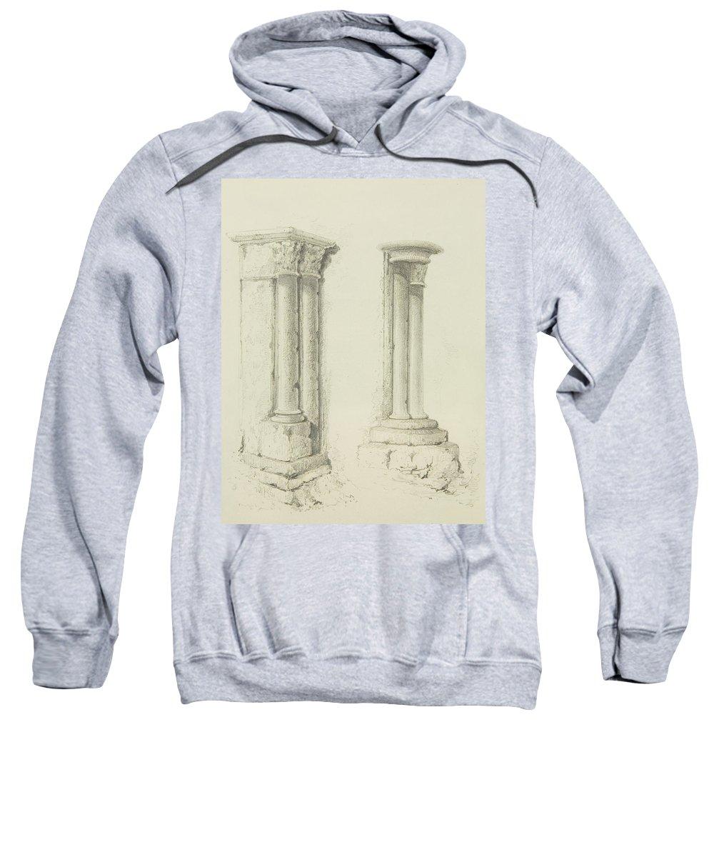 Column Sweatshirt featuring the drawing Columns by Thomas Leeson the Elder Rowbotham