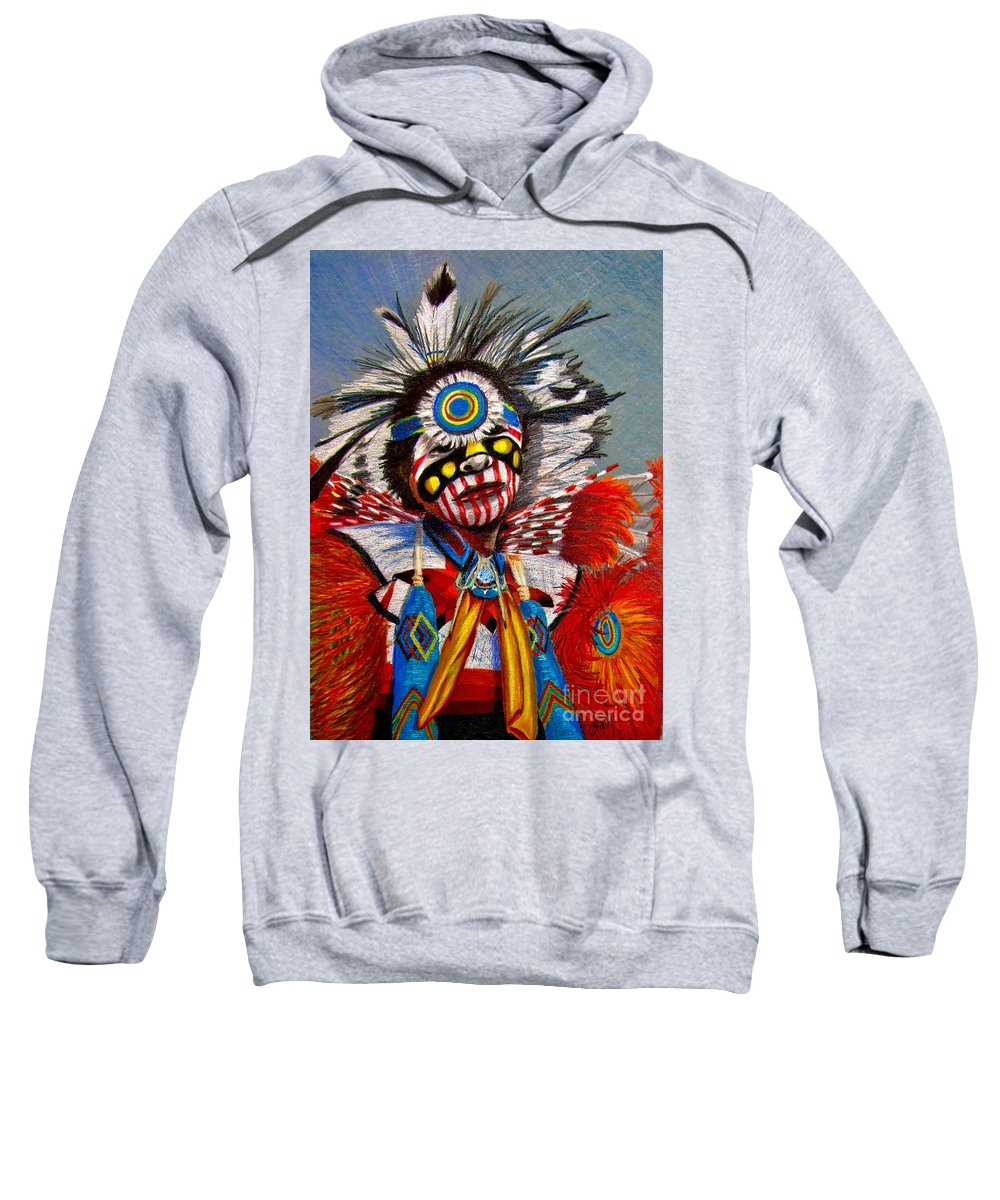 Comanche Dance Sweatshirt featuring the drawing Comanche Dance by Marilyn Smith