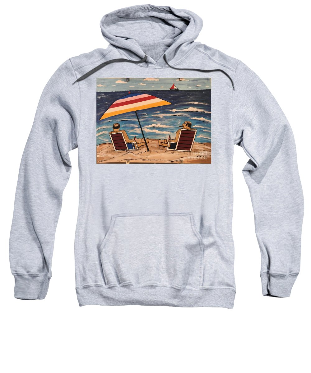 Wall Art Sweatshirt featuring the painting Comb Over Brothers by Jeffrey Koss
