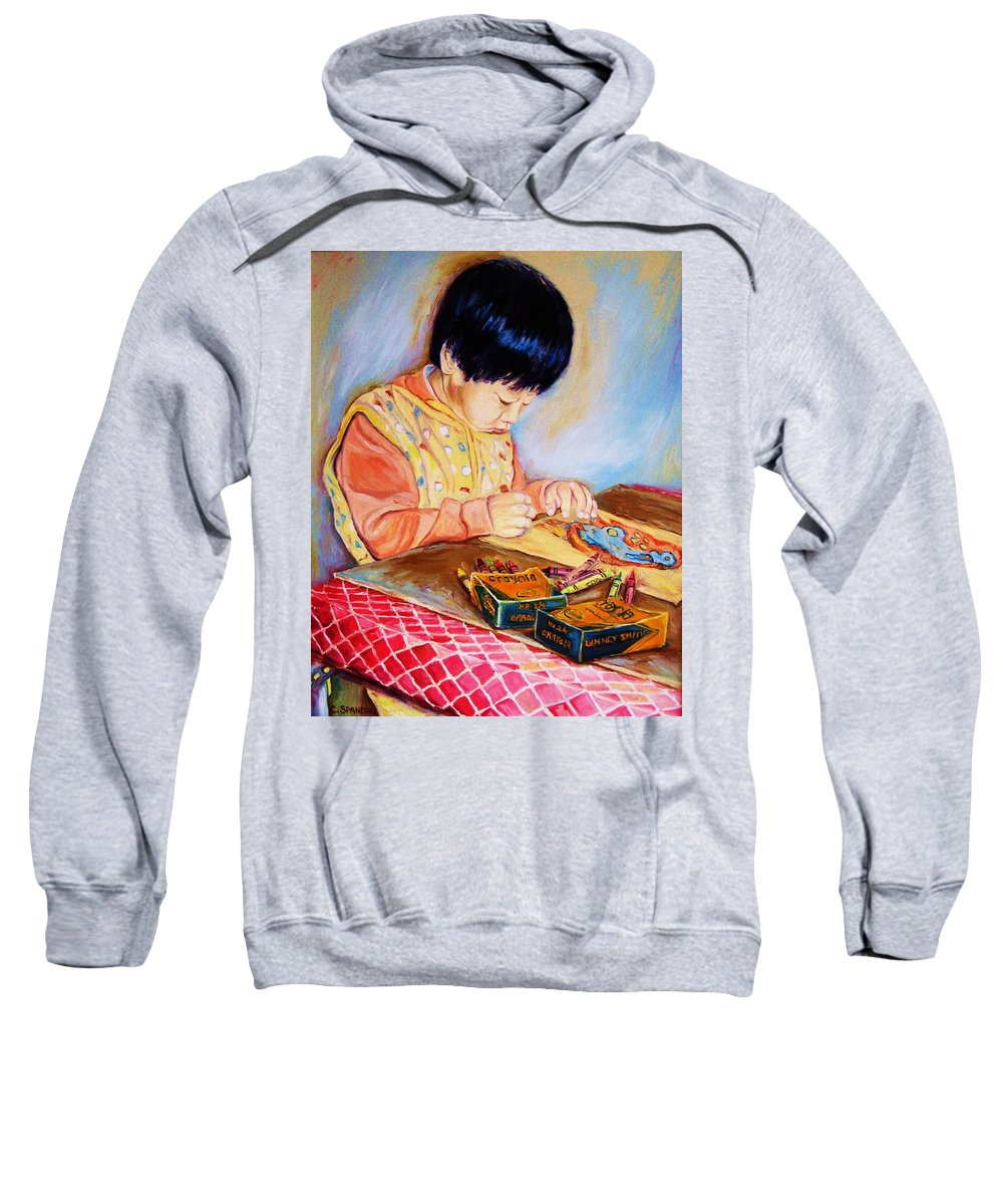 Beautiful Child Sweatshirt featuring the painting Commission Portraits Your Child by Carole Spandau