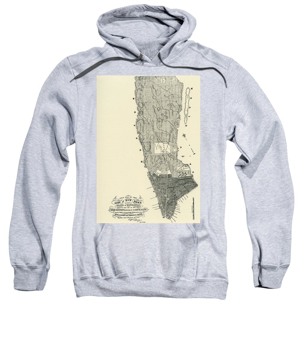 Manhattan Sweatshirt featuring the drawing Commissioners' Map Of Manhattan, 1811 by American School