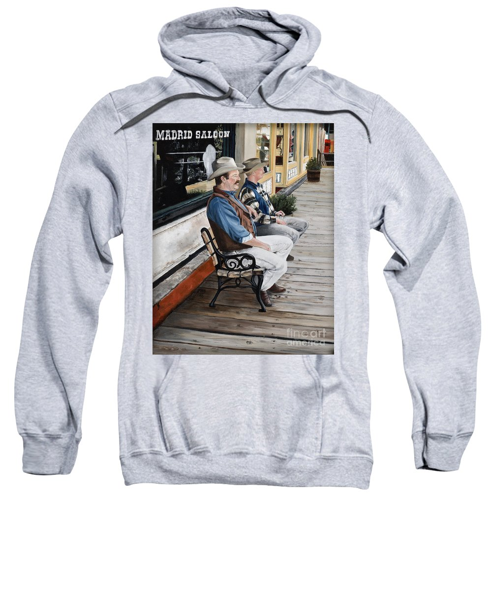 Friends Sweatshirt featuring the painting Compadres by Mary Rogers