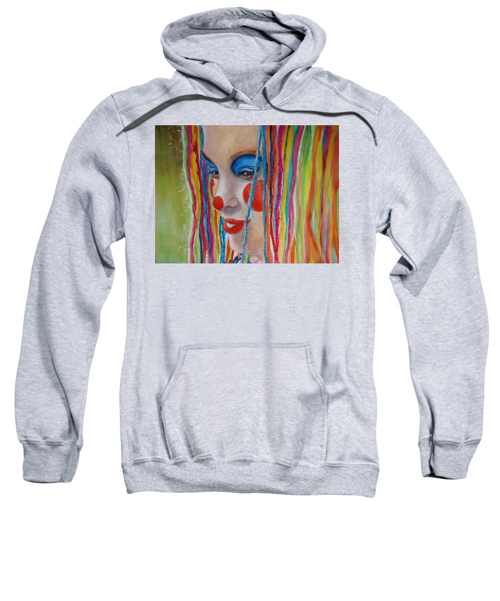 Clowns Sweatshirt featuring the painting Complementary by Myra Evans