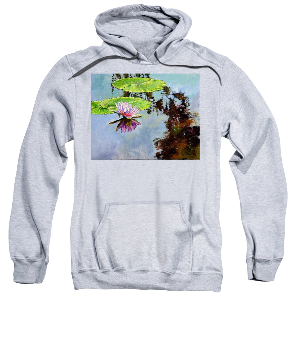 Water Lily Sweatshirt featuring the painting Composition Of Beauty by John Lautermilch