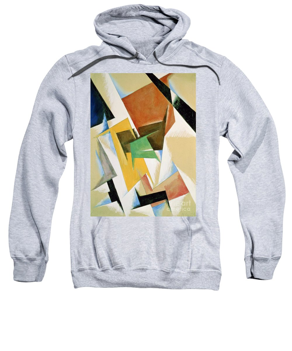 Lyubov Sergeevna Popova Sweatshirt featuring the painting Compostion 1921 by Lyubov Sergeevna Popova
