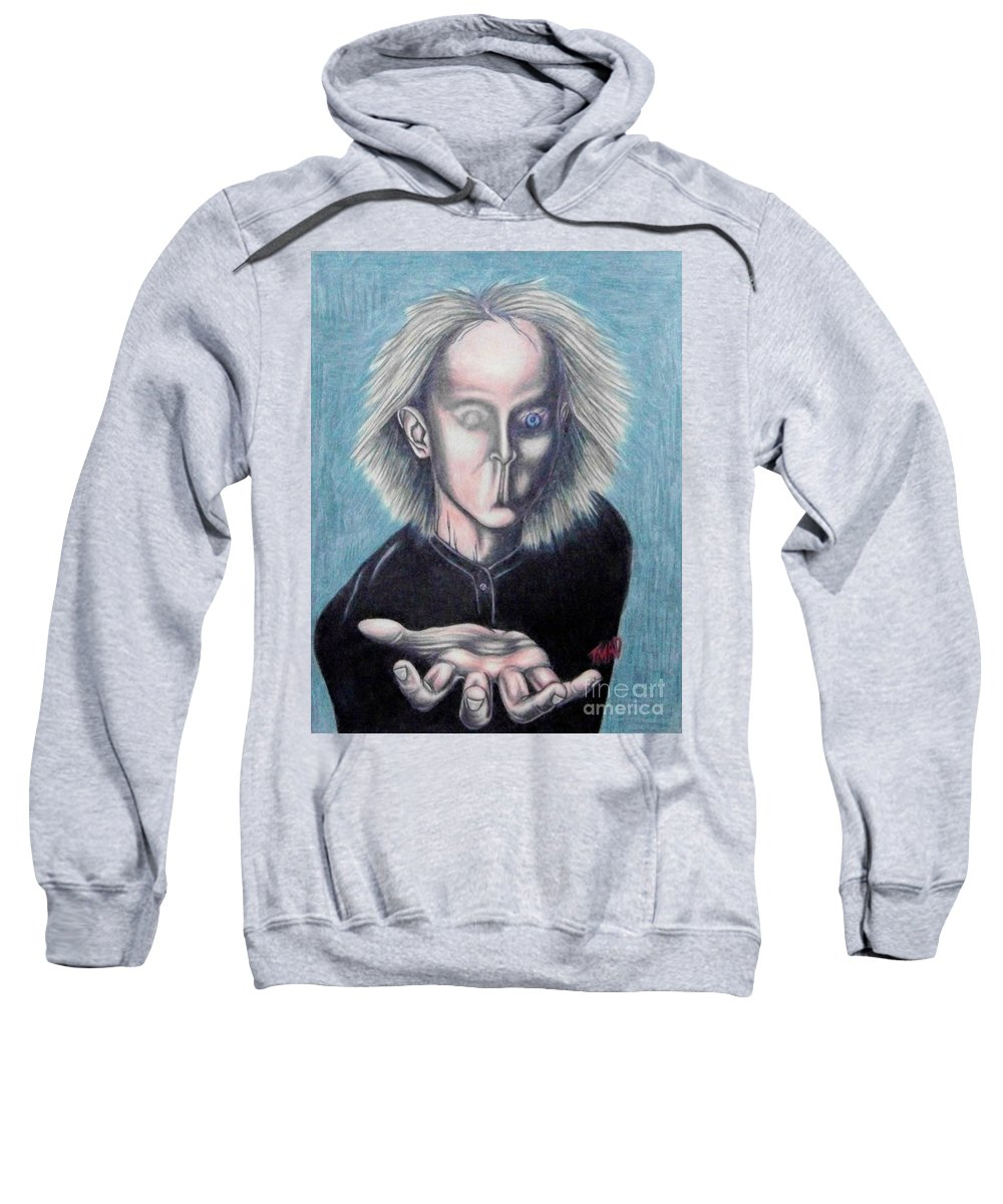 Tmad Sweatshirt featuring the drawing Consciousness by Michael TMAD Finney