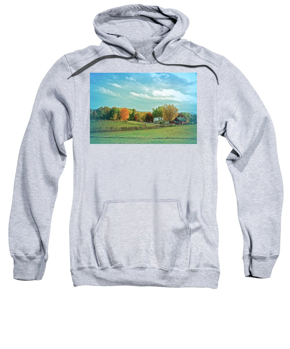 Country Sweatshirt featuring the photograph Cool Blue Autumn Farm by Aimee L Maher ALM GALLERY