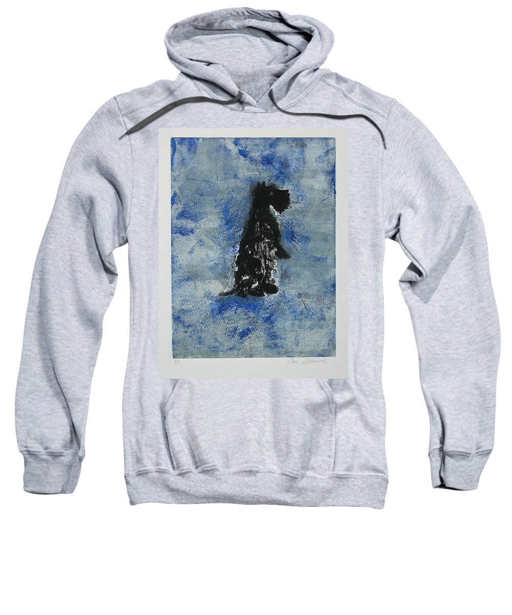 Monotype Sweatshirt featuring the mixed media Cool Blue by Cori Solomon