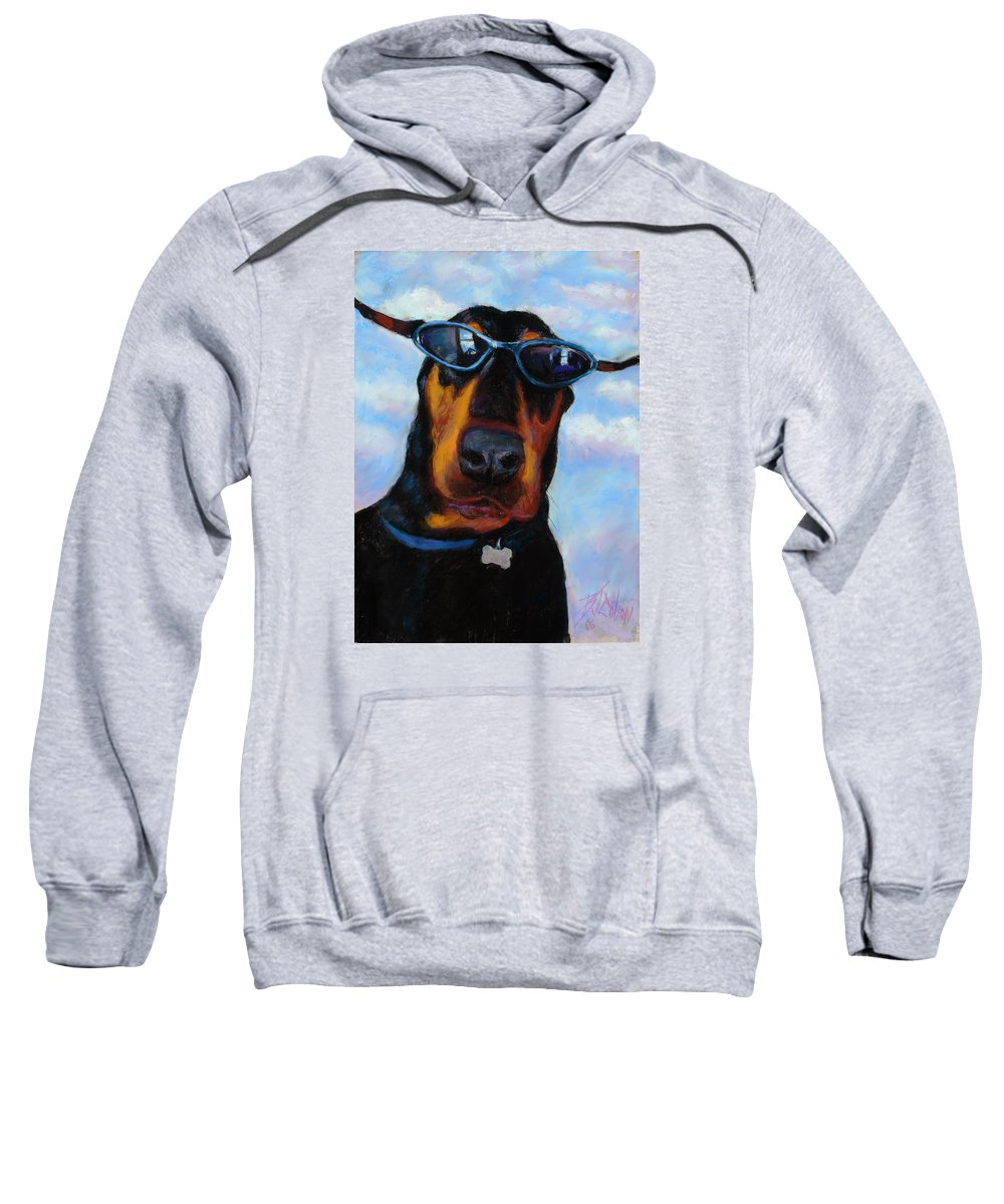 Doberman Pincher Art Sweatshirt featuring the painting Cool Dob by Billie Colson