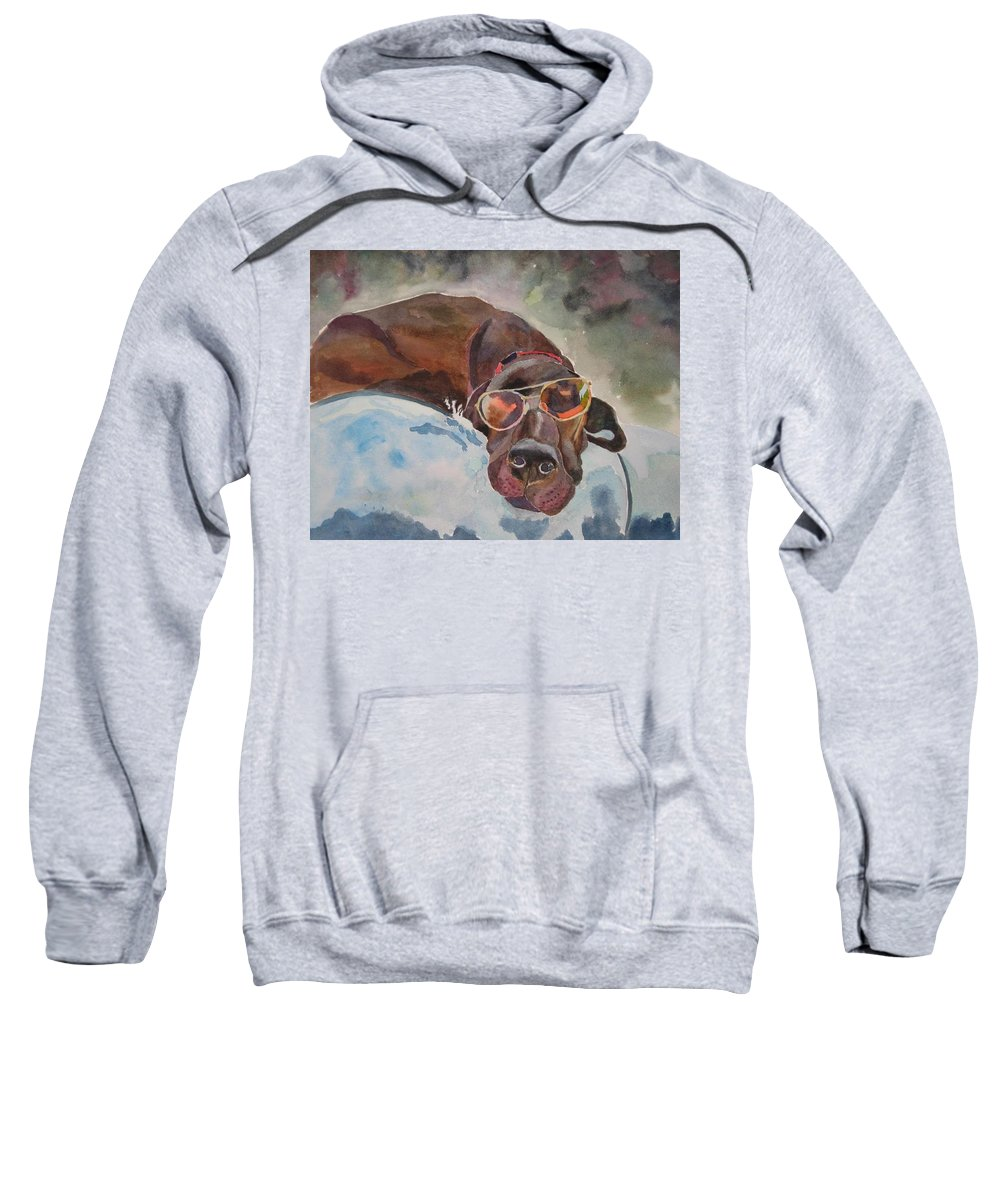 Dog Sweatshirt featuring the painting Cool Lab With Sunglasses by Brenda Kennerly