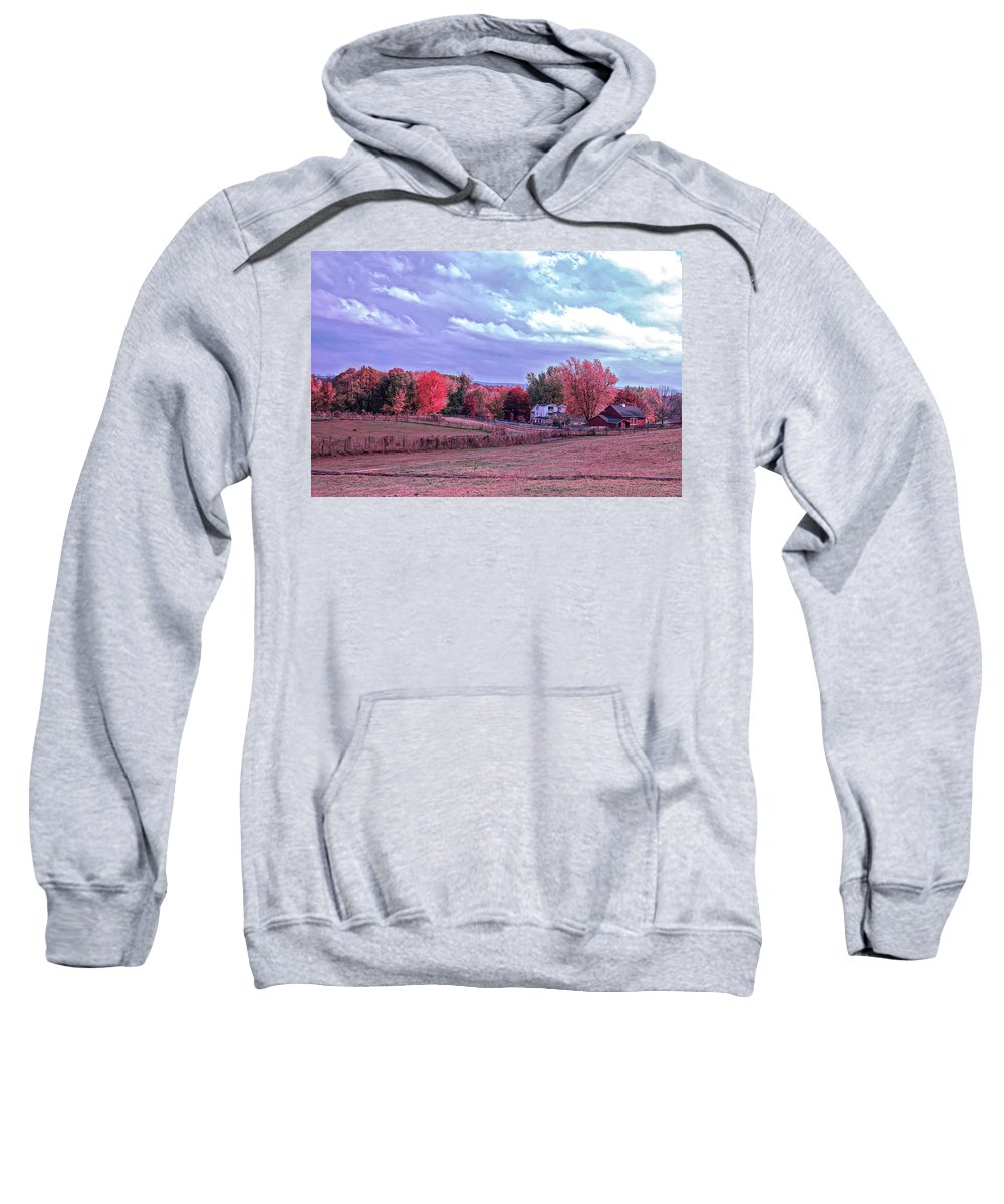 Country Sweatshirt featuring the photograph Cool Sunset Autumn Farm by Aimee L Maher ALM GALLERY