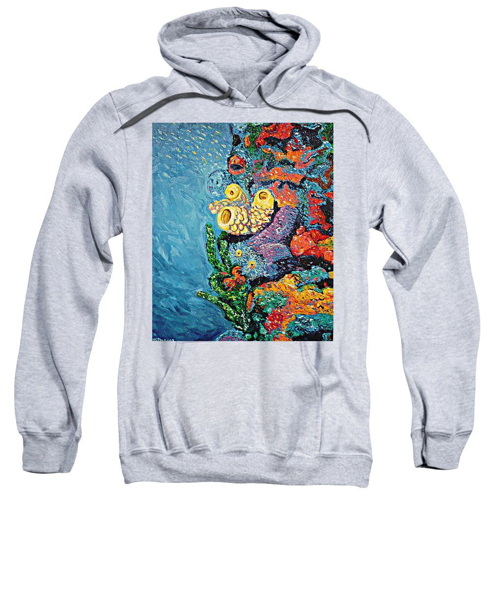 Coral Sweatshirt featuring the painting Coral With Cucumber by Ericka Herazo