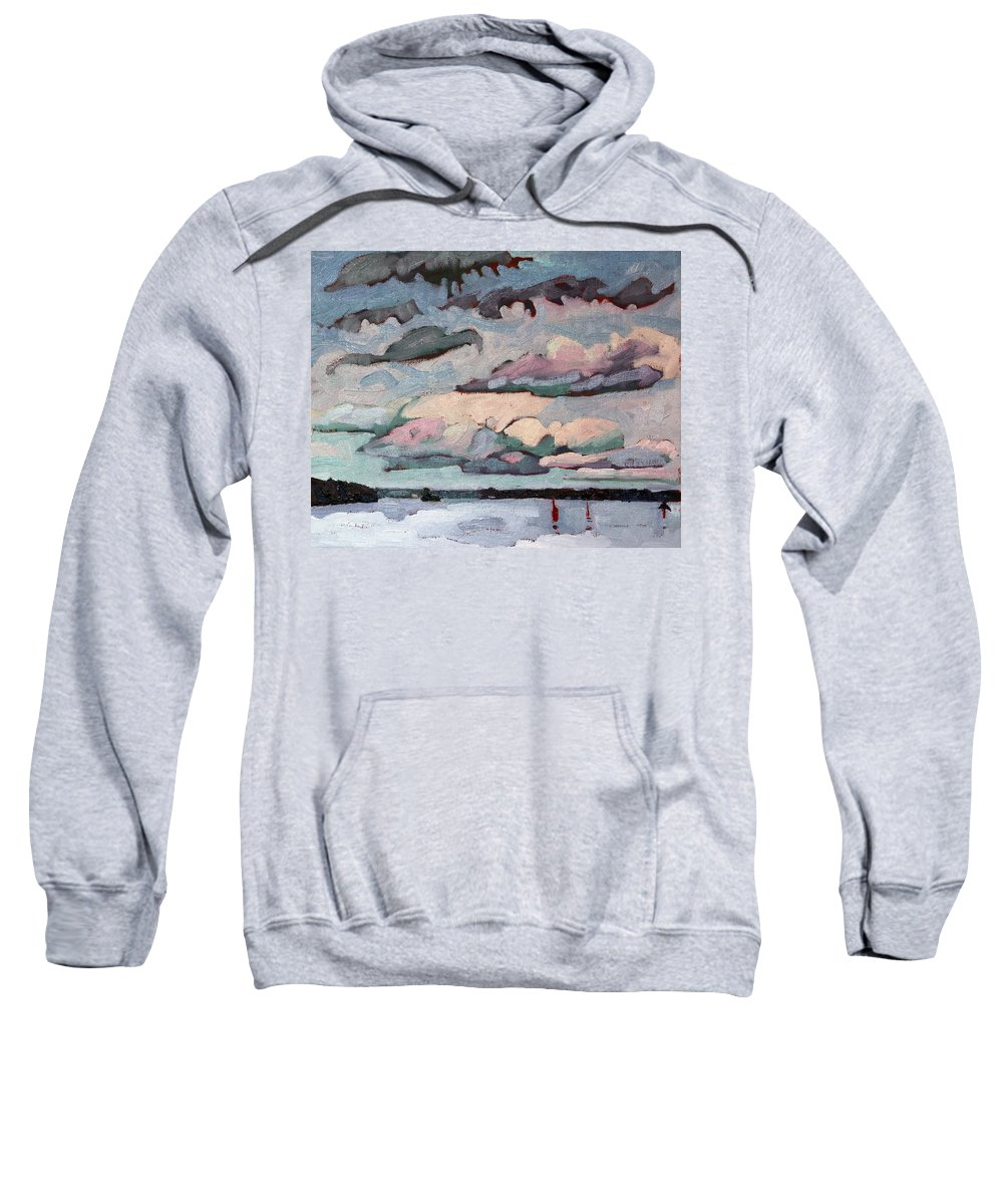 Cormorant Sweatshirt featuring the painting Cormorant Cumulus by Phil Chadwick