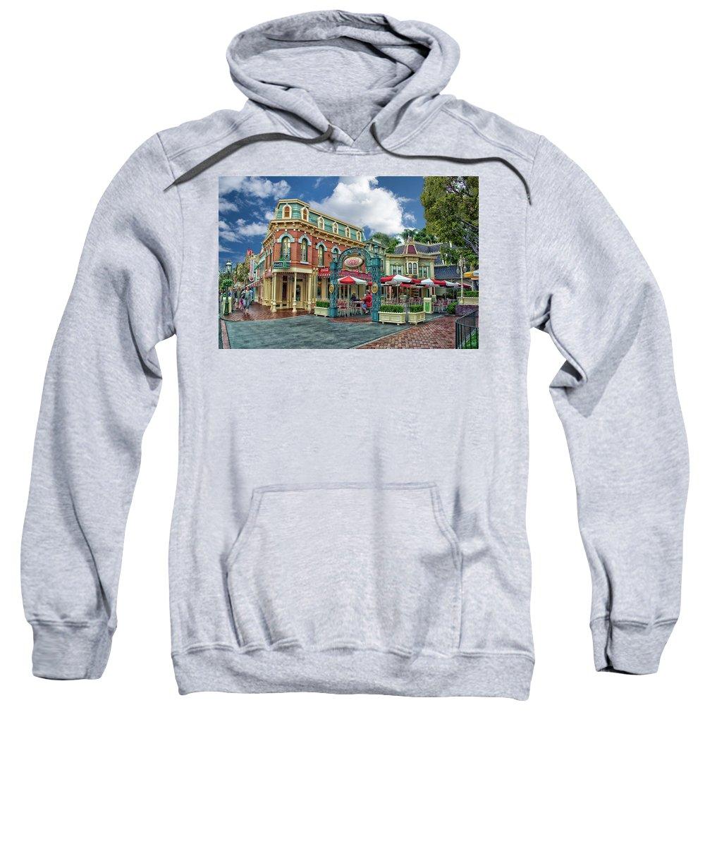 Disney Sweatshirt featuring the photograph Corner Cafe Main Street Disneyland 01 by Thomas Woolworth