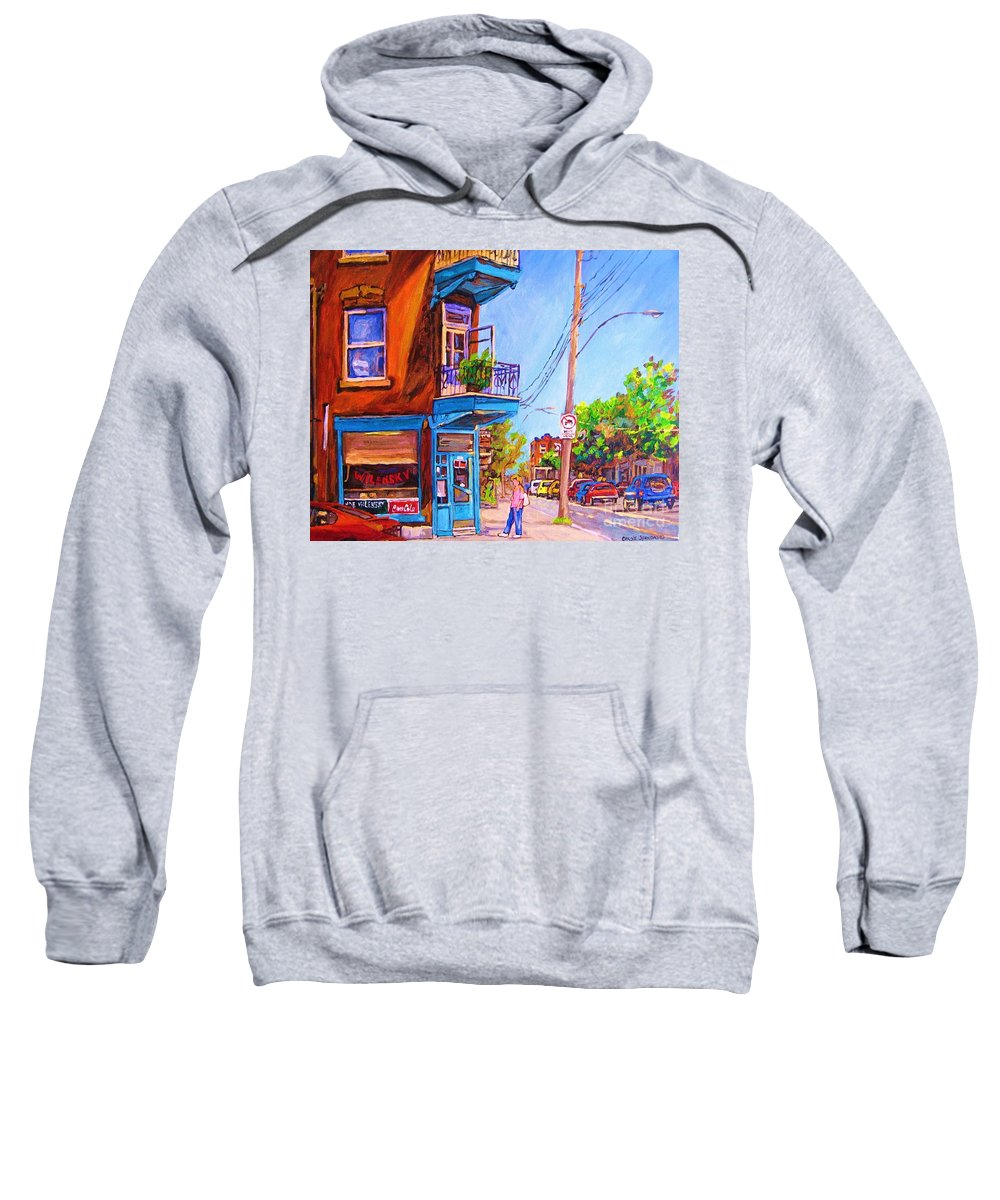 Wilenskys Corner Fairmount And Clark Sweatshirt featuring the painting Corner Deli Lunch Counter by Carole Spandau