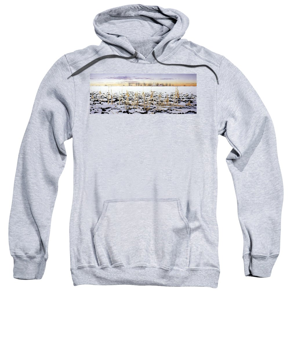 Winter Sweatshirt featuring the painting Cornfield In Winter by Conrad Mieschke