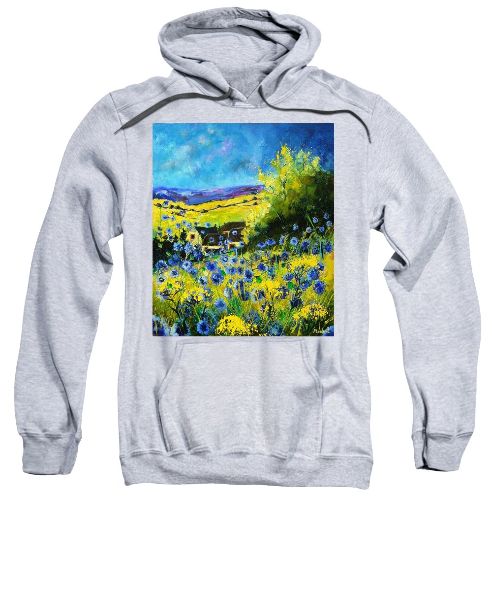 Flowers Sweatshirt featuring the painting Cornflowers In Ver by Pol Ledent