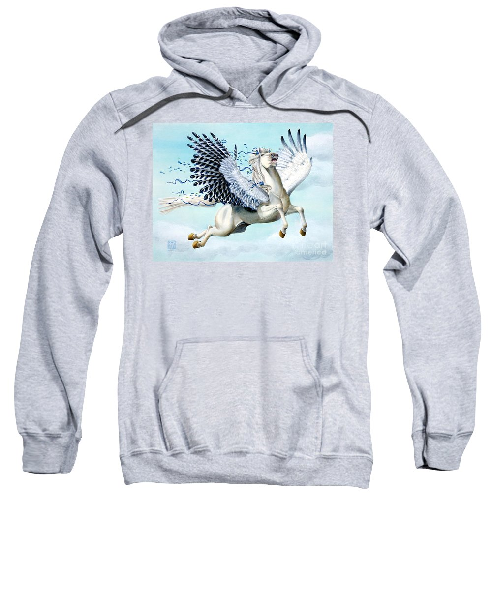Artwork Sweatshirt featuring the painting Cory Pegasus by Melissa A Benson
