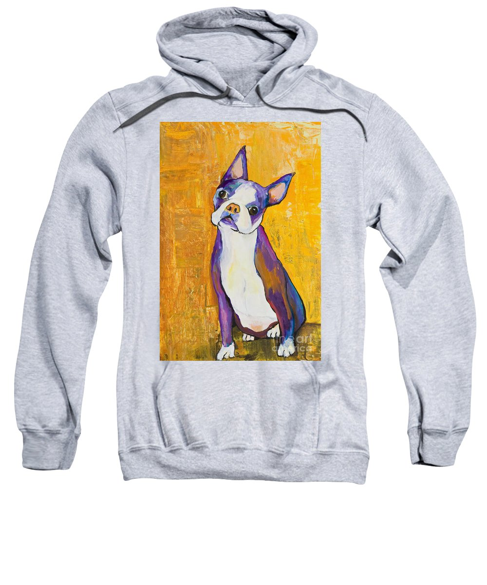 Boston Terrier Animals Acrylic Dog Portraits Pet Portraits Animal Portraits Pat Saunders-white Sweatshirt featuring the painting Cosmo by Pat Saunders-White