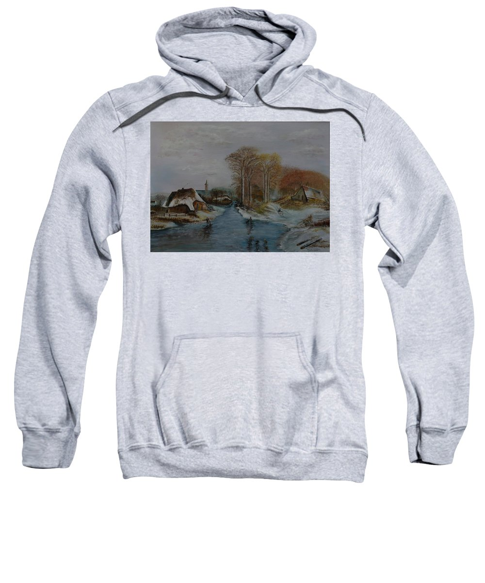 Thatched Roof Cottage Sweatshirt featuring the painting Cottage Country - Lmj by Ruth Kamenev