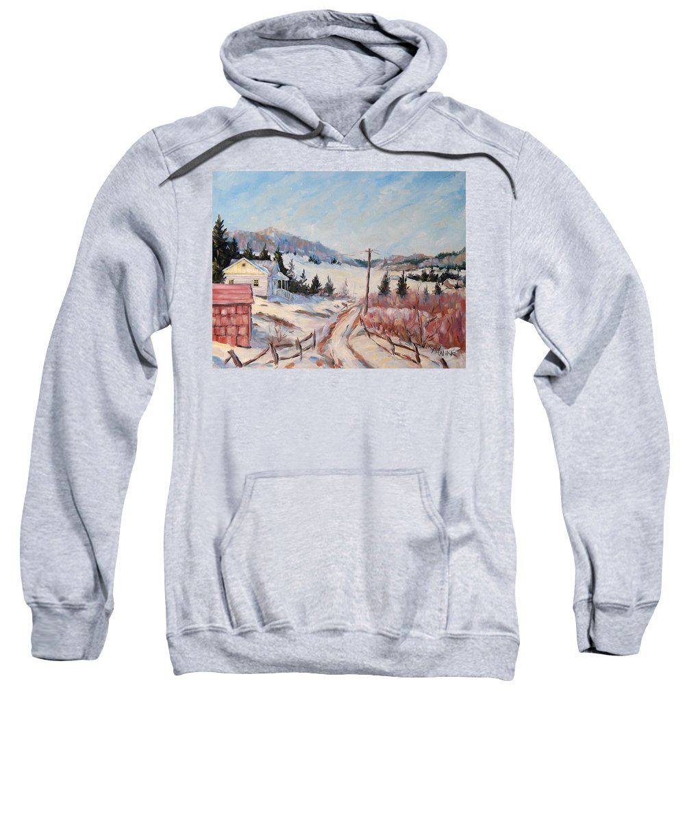 Road Sweatshirt featuring the painting Cottage Road by Richard T Pranke