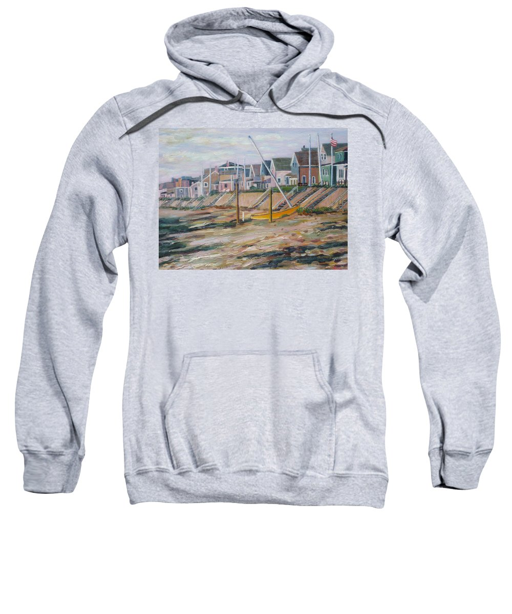 Beach Sweatshirt featuring the painting Cottages Along Moody Beach by Richard Nowak