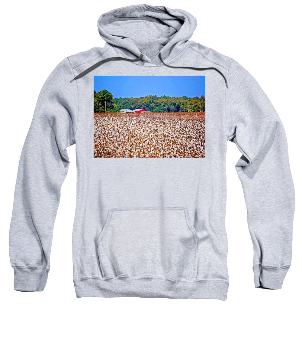 Cotton Sweatshirt featuring the painting Cotton And The Red Barn by Michael Thomas