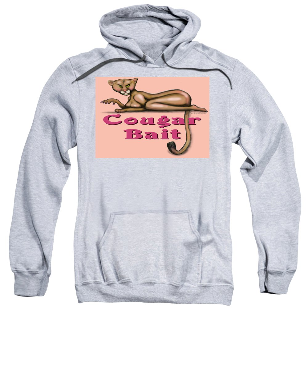 Cougar Sweatshirt featuring the greeting card Cougar Bait by Kevin Middleton