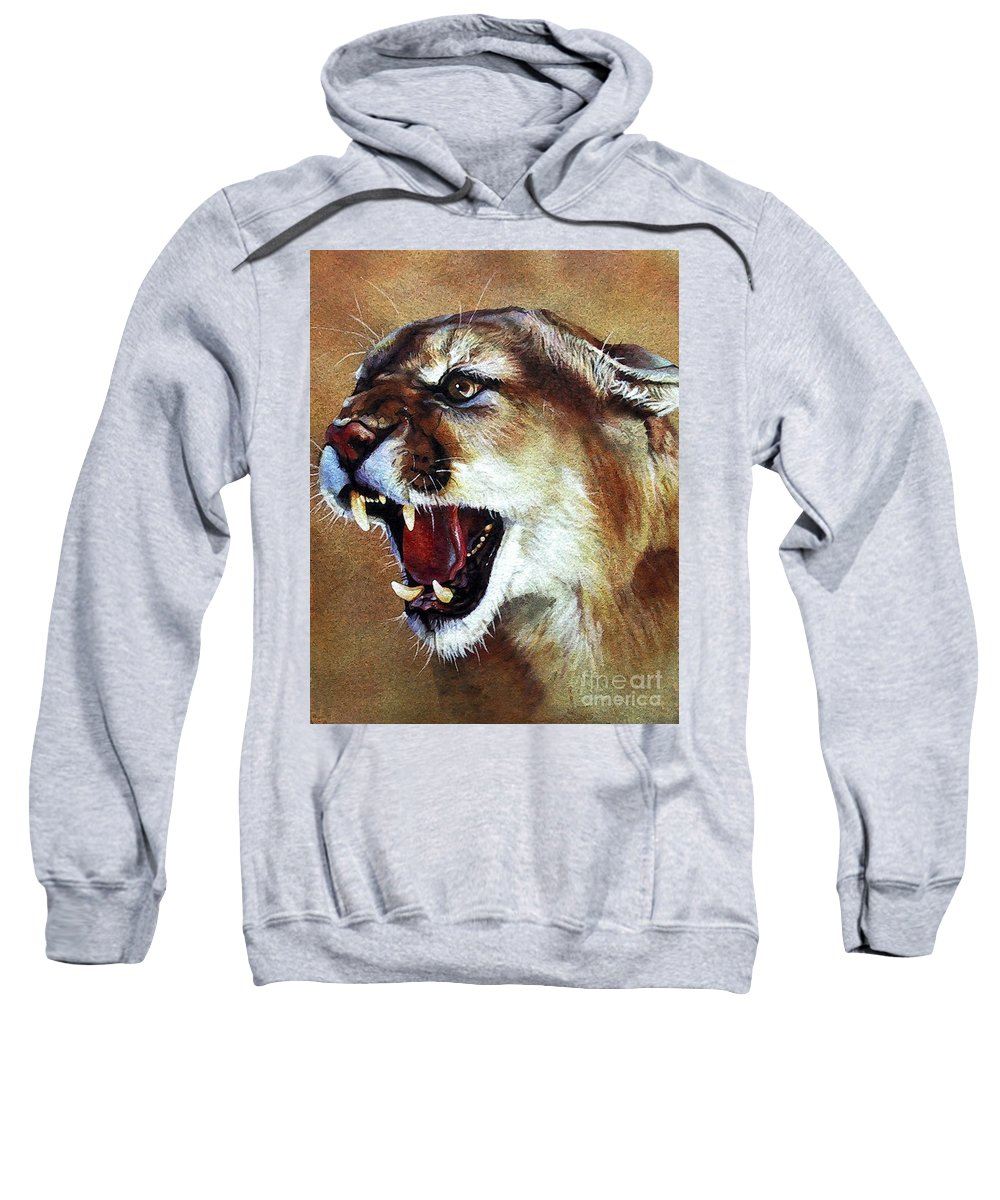 Southwest Art Sweatshirt featuring the painting Cougar by J W Baker