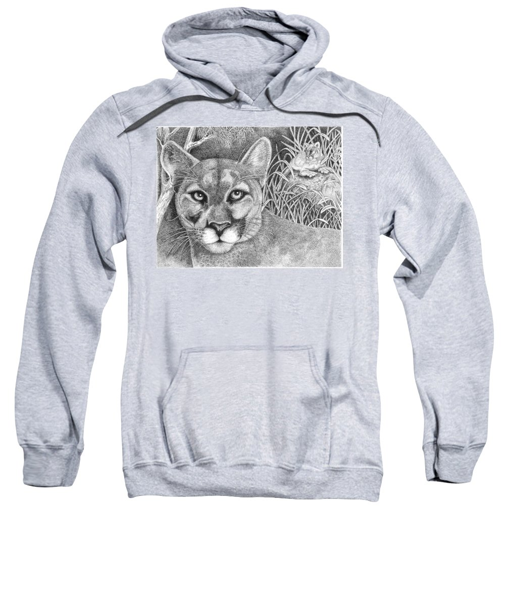 Wildlife Sweatshirt featuring the drawing Cougar by Lawrence Tripoli