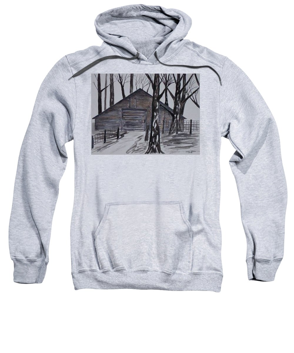 Watercolor Landscape Painting Barn Pen And Ink Drawing Print Original Sweatshirt featuring the painting Country Barn Pen And Ink Drawing Print by Derek Mccrea