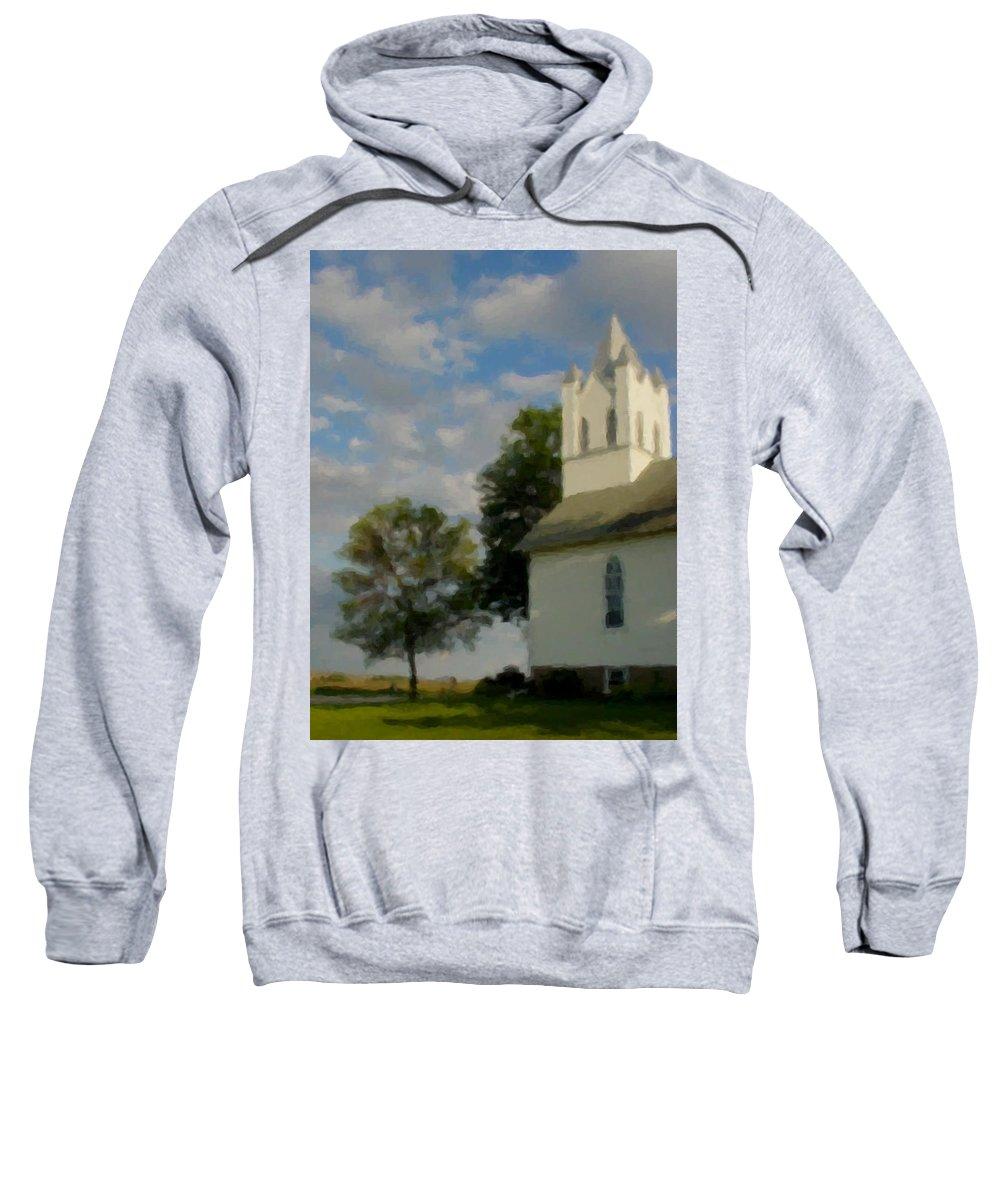 Church Sweatshirt featuring the digital art Country Chuch by Anita Burgermeister