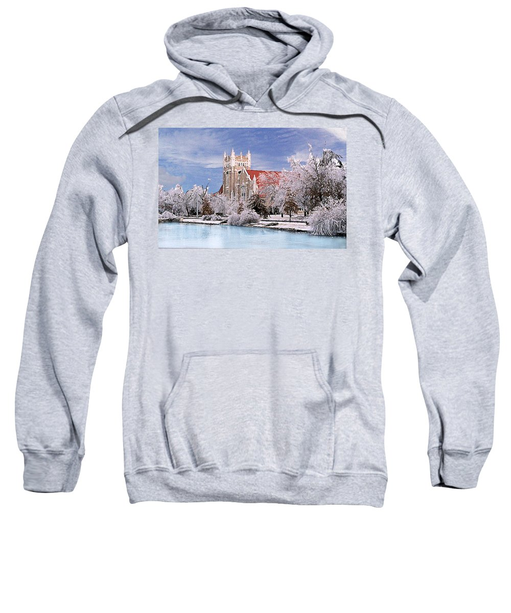 Winter Sweatshirt featuring the photograph Country Club Christian Church by Steve Karol