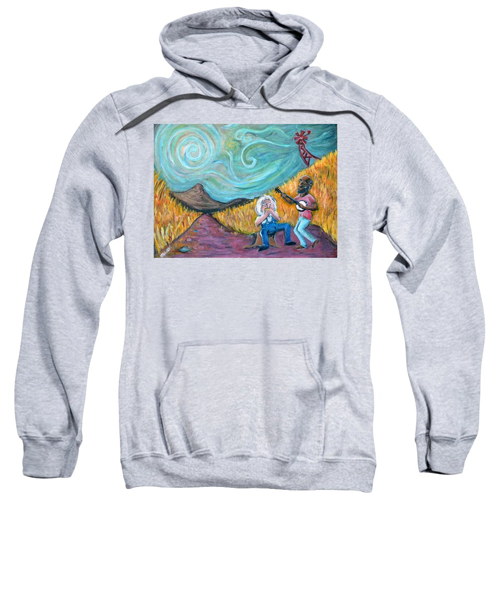 Country Music South Old Man Banjo Van Gogh Corn Field Sweatshirt featuring the painting Country Music by Jason Gluskin