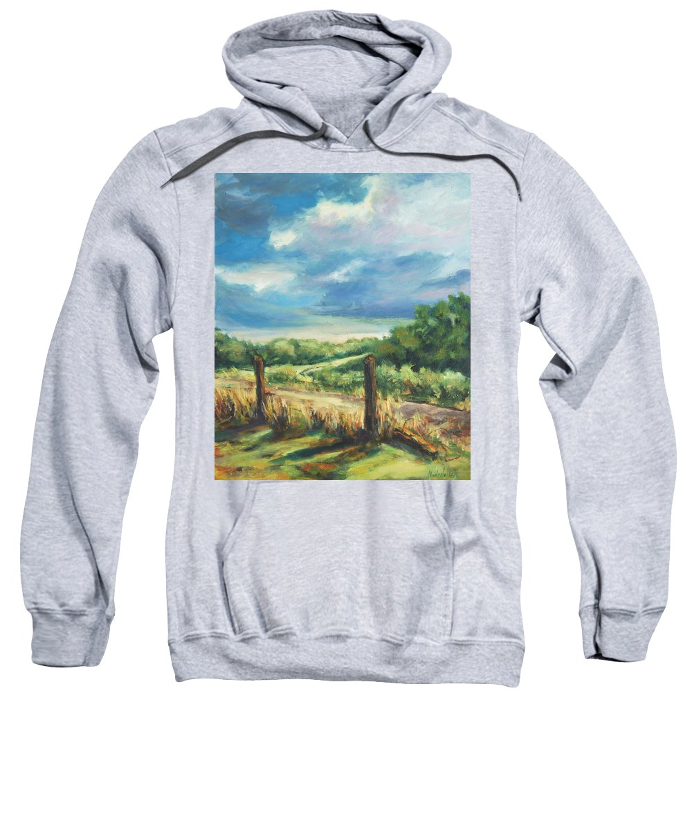 Clouds Sweatshirt featuring the painting Country Road by Rick Nederlof