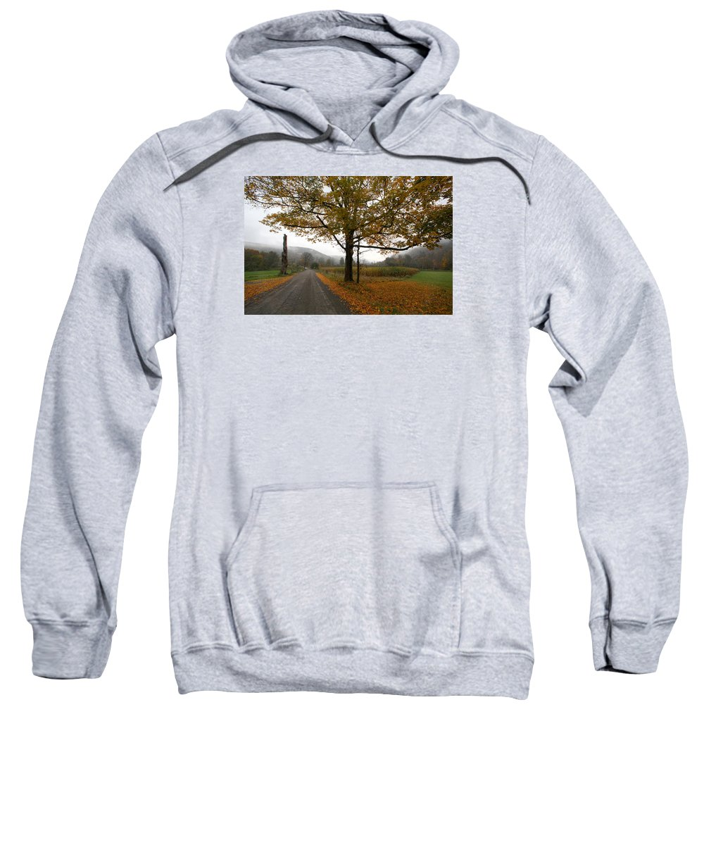 Country Fall Trees Field Road Drive Mountains Mountain Sweatshirt featuring the photograph Country Road by Robert Och