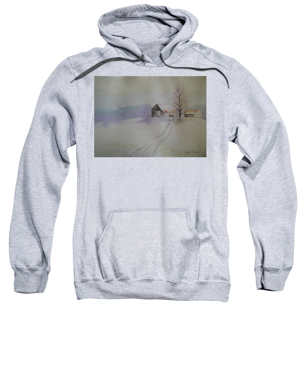 Barn Snow Winter Tree Landscape Cold Sweatshirt featuring the painting Country Snow by Patricia Caldwell