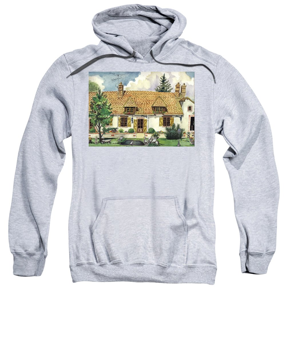 House Sweatshirt featuring the painting Countryside House In France by Alban Dizdari