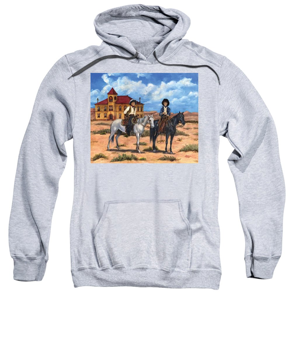 Oil Sweatshirt featuring the painting Courthouse Cowboys by Liz Nichols