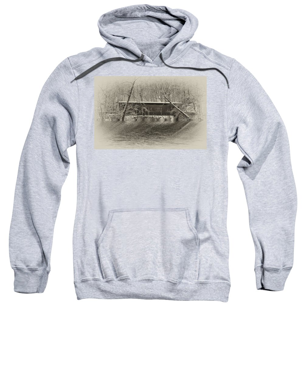 Philadelphia Sweatshirt featuring the photograph Covered Bridge In Black And White by Bill Cannon