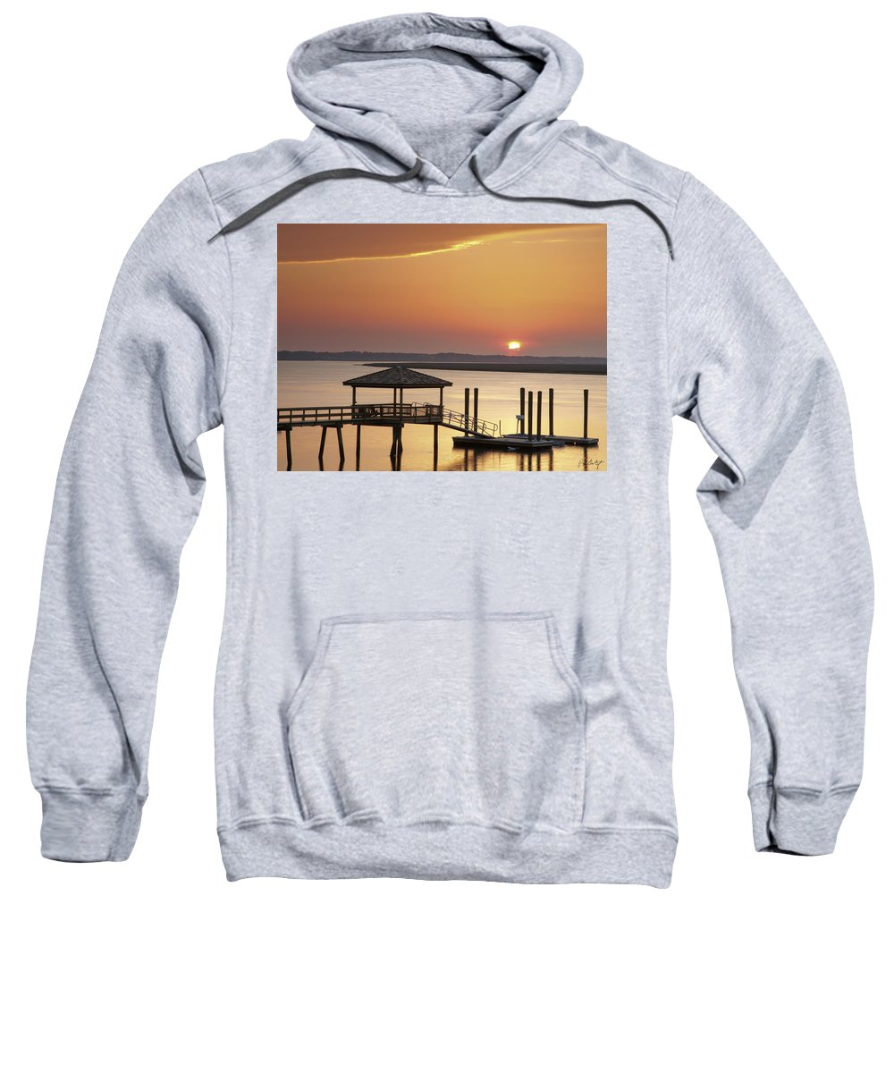 Sunset Sweatshirt featuring the photograph Covered Dock by Phill Doherty