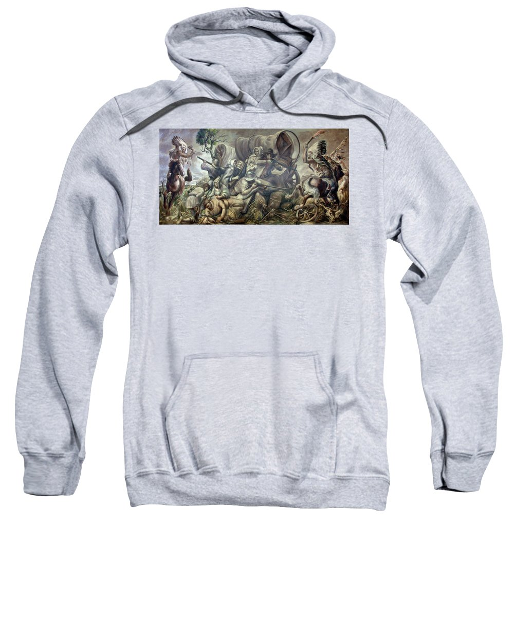 Painting Sweatshirt featuring the painting Covered Wagon Attacked By Indians by Mountain Dreams