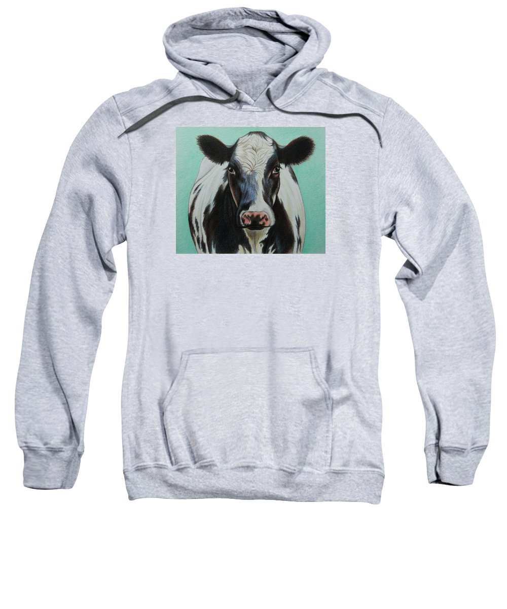 Cow Sweatshirt featuring the drawing Cow by Lucy Deane