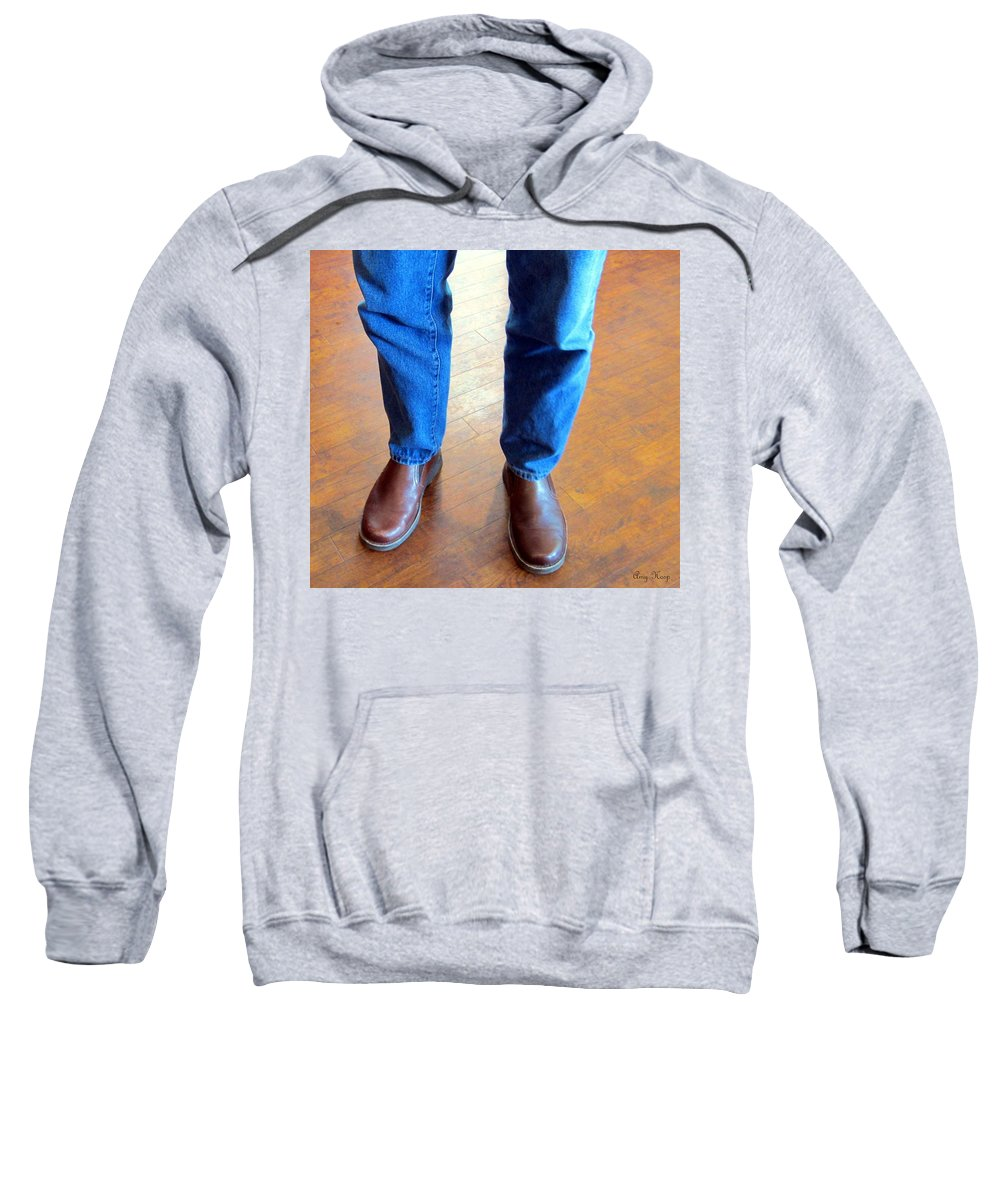 Feet Sweatshirt featuring the photograph Cowboy Feet by Amy Hosp