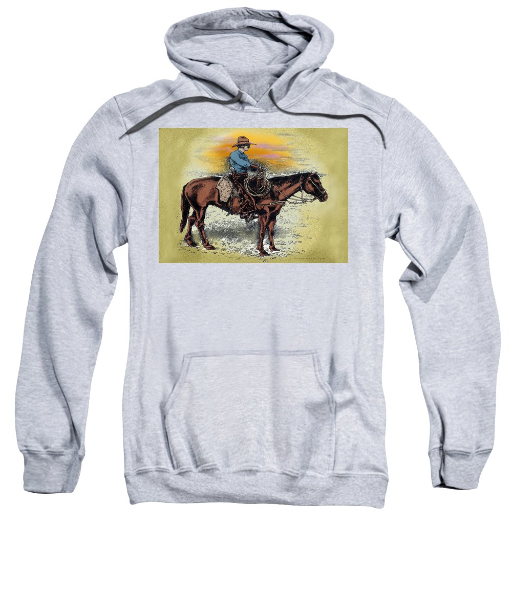 Cowboy Sweatshirt featuring the painting Cowboy N Sunset by Kevin Middleton
