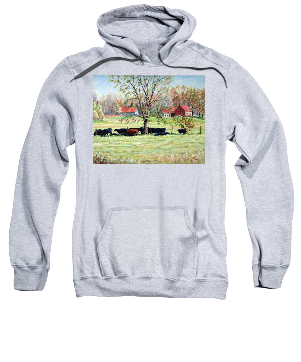 Cows Sweatshirt featuring the painting Cows Grazing In One Field by Richard T Pranke